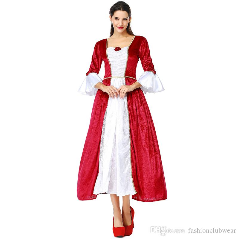 a3bf80915ab Women Red Medieval Renaissance Costumes Retro Princess Queen Cosplay Long  Dress Elegant Ball Gown For Halloween Carnival Party Halloween Costumes For  Kids ...