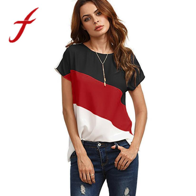 d478343ace Feitong Summer Women s Chiffon Blouses Ladies Casual Color Block ...