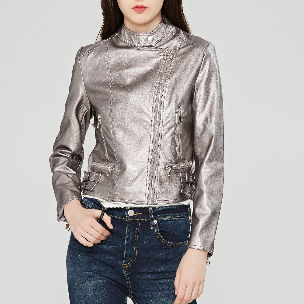776e421c7b24 2019 Fashion Mandarin Collar Womens Jackets Black Pink Wine Red Leather  Clothing Slim Motorcycle Leather Jacket Women Outerwear Coats From  Lin_and_zhang, ...