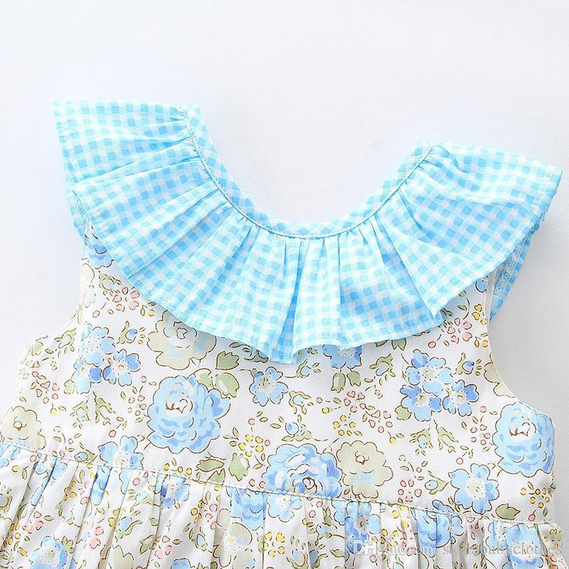 Лето старинные рукавов хлопок цветочный принт Принцесса кукла воротник платье мода партии дети девушки рябить платье для 0-6Y