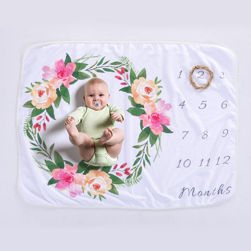 Date d'anniversaire couverture pour bébé polaire bébé Wrap fleur guirlande photo fond couverture cadeau Wrap pour bébé DOM1061029