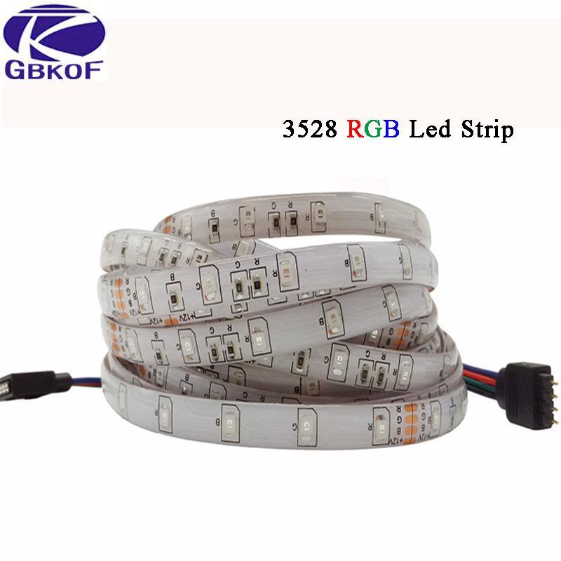 La bande lumineuse de GBKOF LED 12V 5M 300Led SMD 3528 2835 5050 ruban de diode RVB simple ruban de LED a mené la bande imperméable à l'eau non imperméable à l'eau