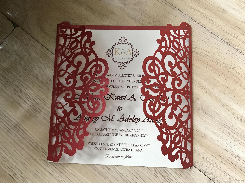 Grosshandel 2019 Vintage Lace Hochzeitseinladungen Rote