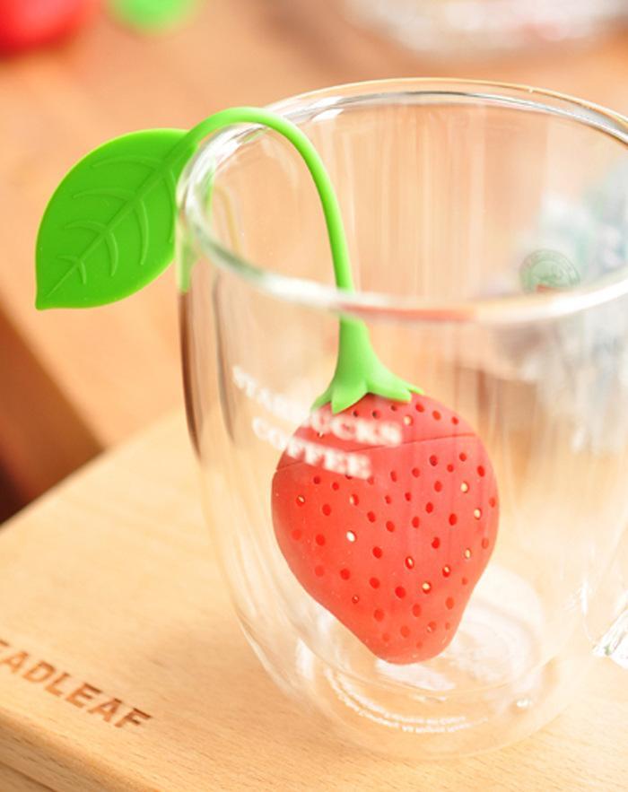 الفراولة شكل السيليكون infuser مصفاة الشاي السيليكون حشو كيس الشاي الكرة قحافة