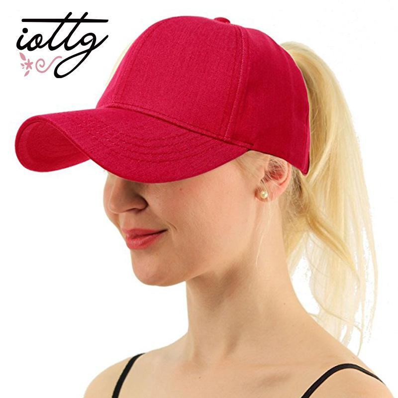 57c23e7533f1e IOTTG Wholesale Drop Shipping Washed Denim C.C Ponytail Baseball Cap Summer  Bun Adjustable Cap Sport Snapback Hats For Women
