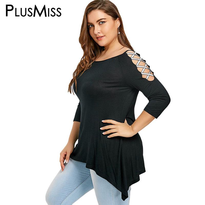 9498e6e37f3f1 2019 PlusMiss Plus Size 5XL Shiny Lace Up Sleeve Tunic Top Women Clothing  Black Vintage Cold Shoulder Party Blouse Large Size Blusas From  Smotthwatch