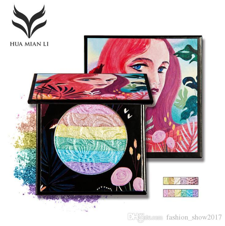 New Hot HUAMIANLI Professional Highlighters Contouring Makeup Face Brighten Powder Pigment Shimmer Rainbow Highlighter Palette Cosmetics Makeup Sites Beauty ...