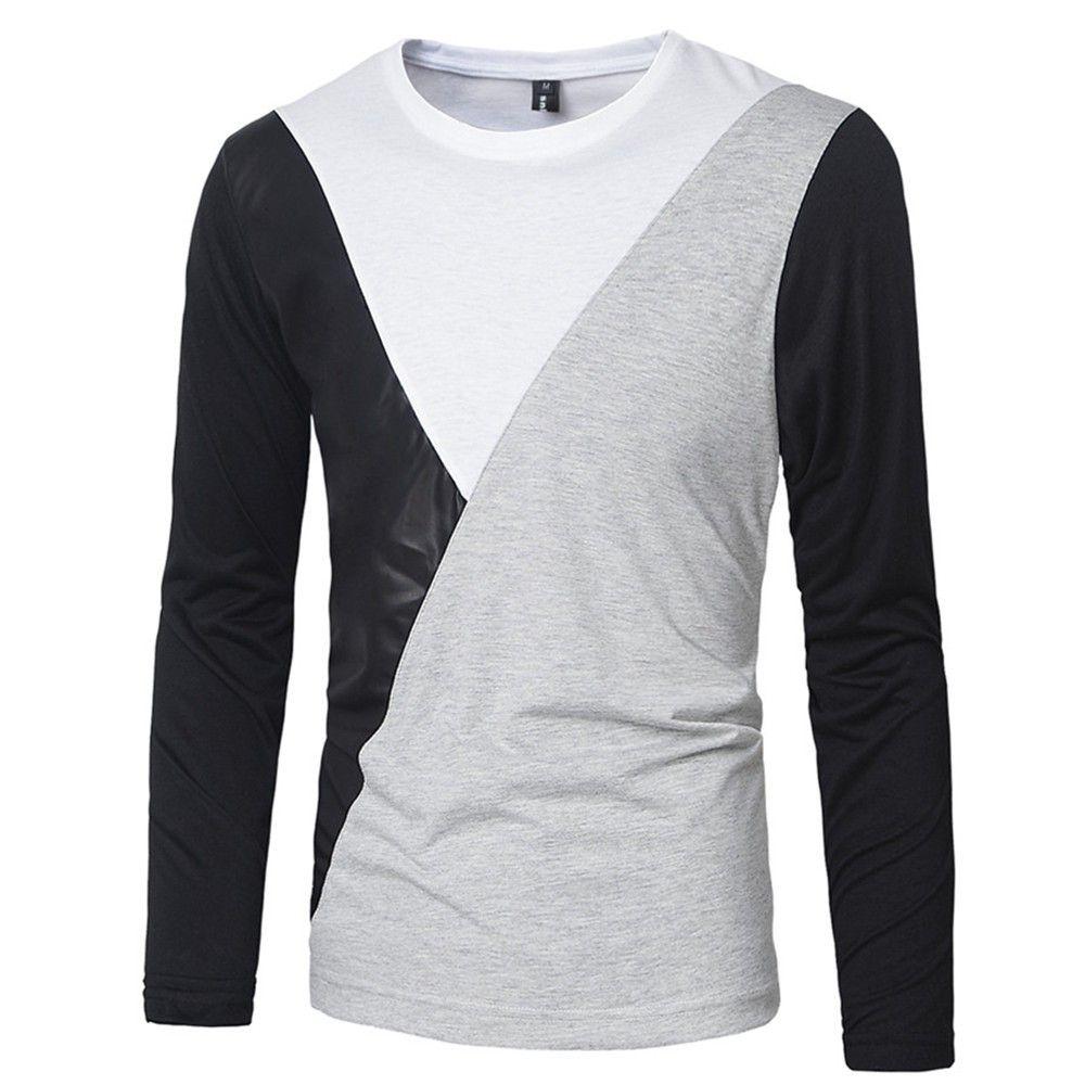 800e6a1eec1 2016 M XXL PU Leather T Shirt Men High Quality Splice Long Sleeve T Shirt  Fashion Cotton Casual O Neck Hip Hop Mens Tops Tee Vintage Tees Unique T  Shirts ...