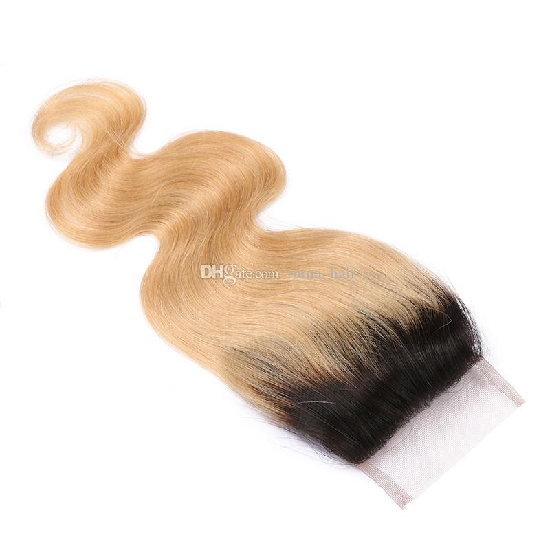 T 1B 27 Dark Root Honey Blonde Body Wave Ombre Human Hair Weave 3 Bundles with Lace Closure Brazilian Virgin Hair Extensions