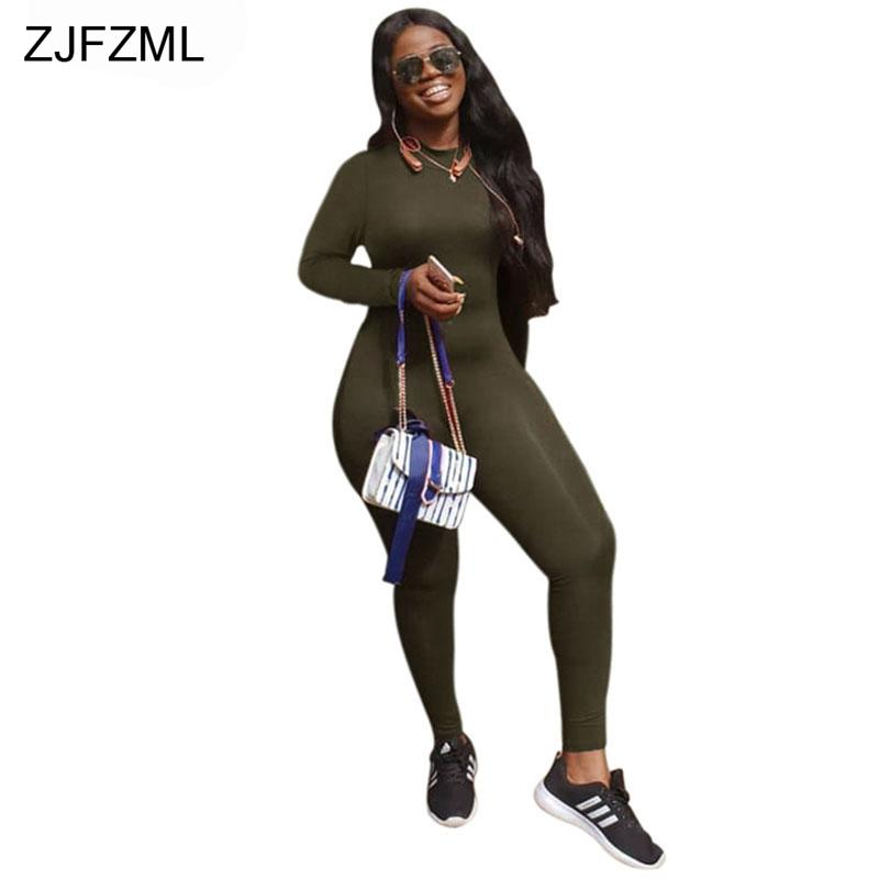 ZJFZML Stand Collar Sexy Rompers Womens Jumpsuit Casual Long Sleeve Back Zipper Party Catsuit Autumn Skinny One Piece Overall