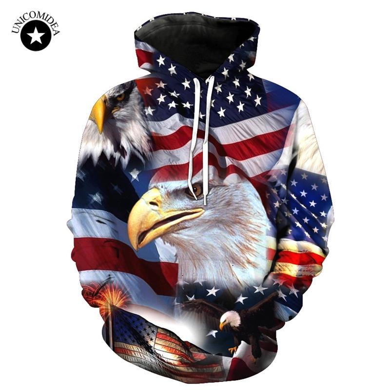 Compre Unicomidea Bandera Americana Hoodies Hombres Mujeres 3D Otoño Invierno  Sudadera Con Capucha Tops Streetwear Unisex Eagle Pullover Más Tamaño A   32.36 ... 19e9947fd50