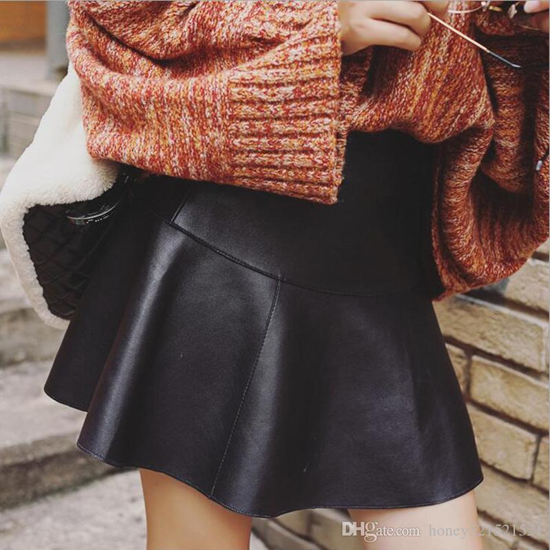 PU pelle a vita alta nuove donne di modo ha pieghettato il disegno di avvio gonna corta taglio sexy con pantaloncini di sicurezza all'interno culottes più il formato XXL