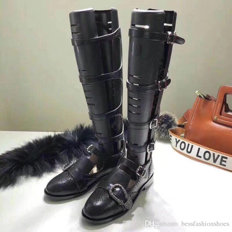 f6d2aaf7f70 Compre Botas Sandalias Negras Zapatos De Diseñador De La Celebridad Botas  Altas De Muslo Punta Redonda Botas De Hebilla De Tacón Grueso Fiesta De  Mujer ...