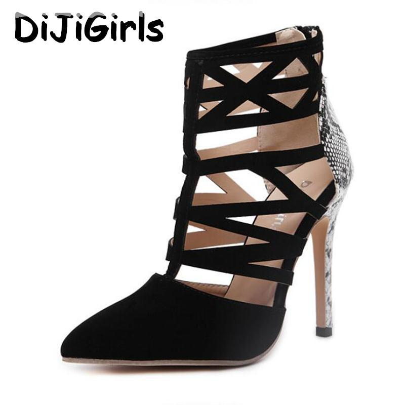 1d54fa16ff74 DiJiGirls Women High Heels Sexy Ladies Cut Out Snakeskin Print Roman Sandals  Gladiator Ankle Bootie Stilettos Pumps Zip Shoes Platform Sandals Wedges  Shoes ...