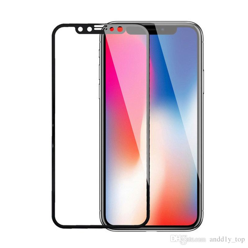 4D 5D Top quality For iPhone X 6 7 8 plus Tempered Glass Front Screen Protector Film Full Cover 4D hard Curved Edge