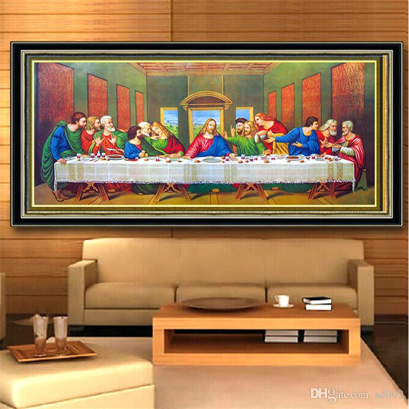 Cross Stitch 5D Diamond Painting Diy Embroidery Kits Full Drill Special Shaped Paintings Wall Stickers Art Decor Last Supper Theme 54ym3 jj