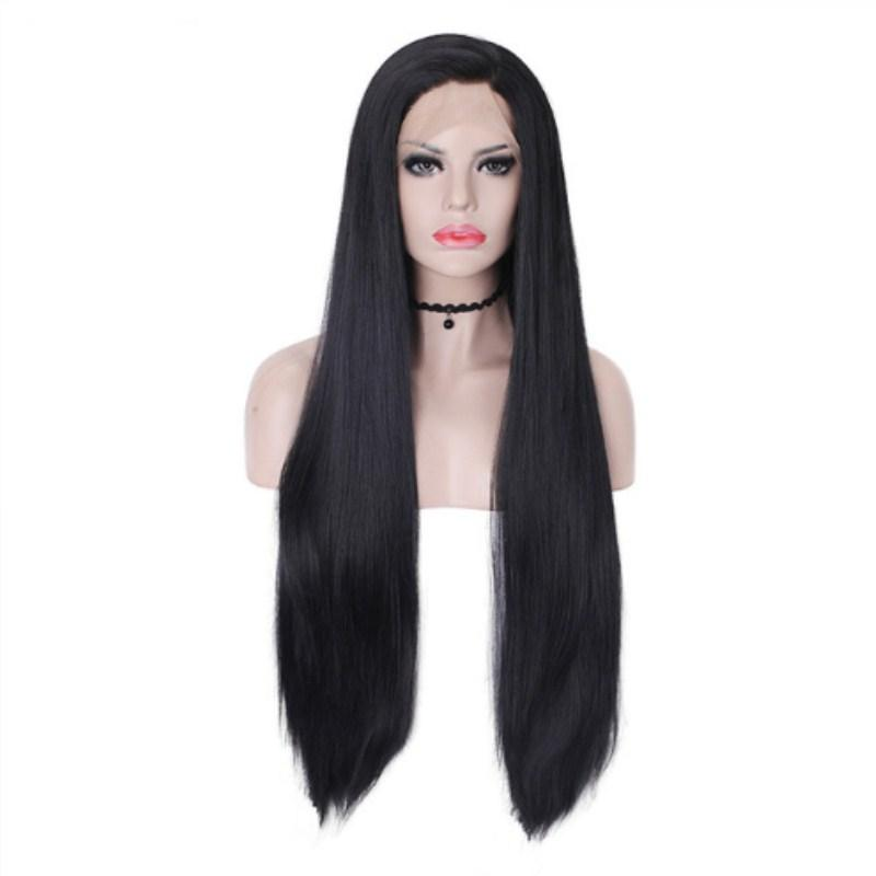 Free Part Straight Long Jet Black Wig Synthetic Lace Front Wigs For Women 180% Density Heat Resistant Fiber Natural Hair Cosplay Beauty Wig