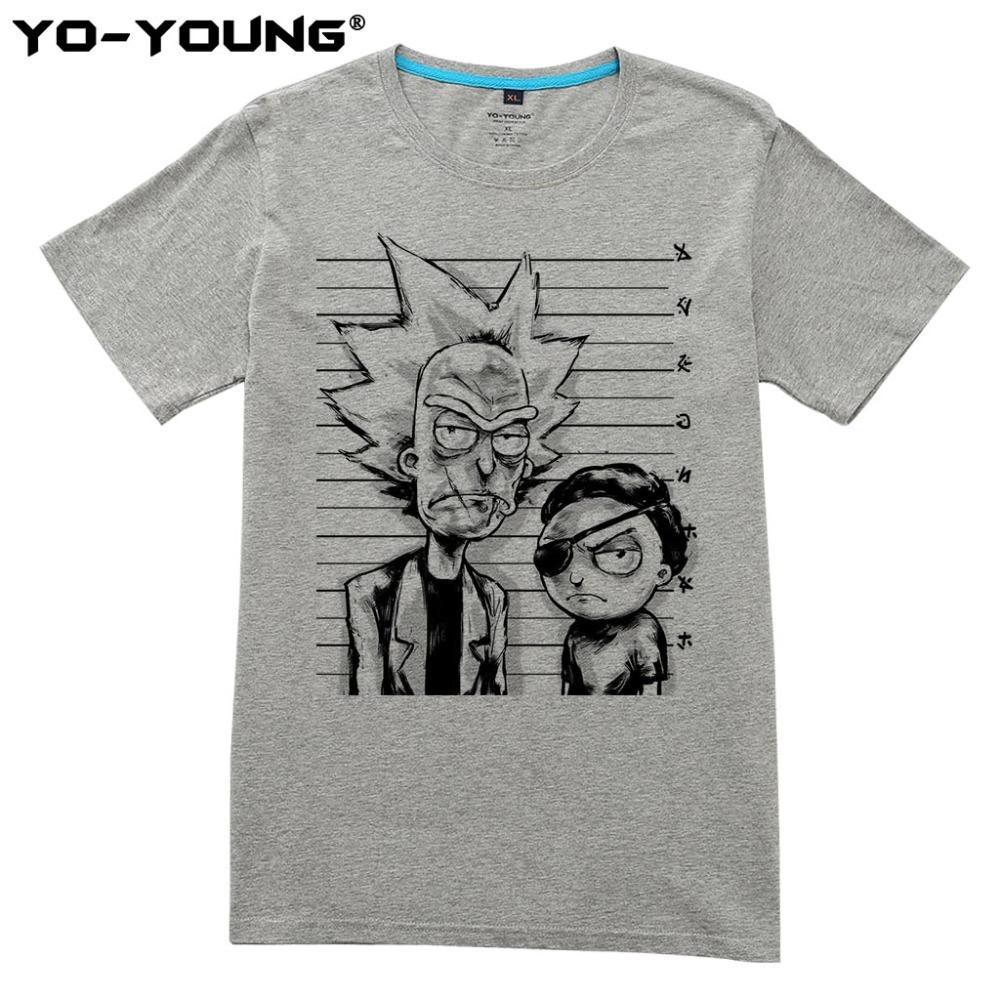 c24cc502a Compre Yo Young Marca Rick E Morty Bad Rick Homens T Shirts Engraçado  Design De Impressão Digital 100% Algodão Casual Top Tees Homme Personalizado  De ...