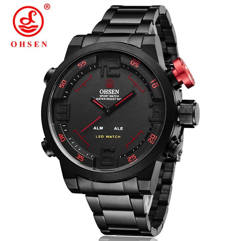 4f5b129e8f30 Compre OHSEN Relojes De Cuarzo Digital De Los Hombres A Prueba De Agua De  Acero Completo LED Reloj De Pulsera Para Hombre Reloj Deportivo Regalos  Relogio ...