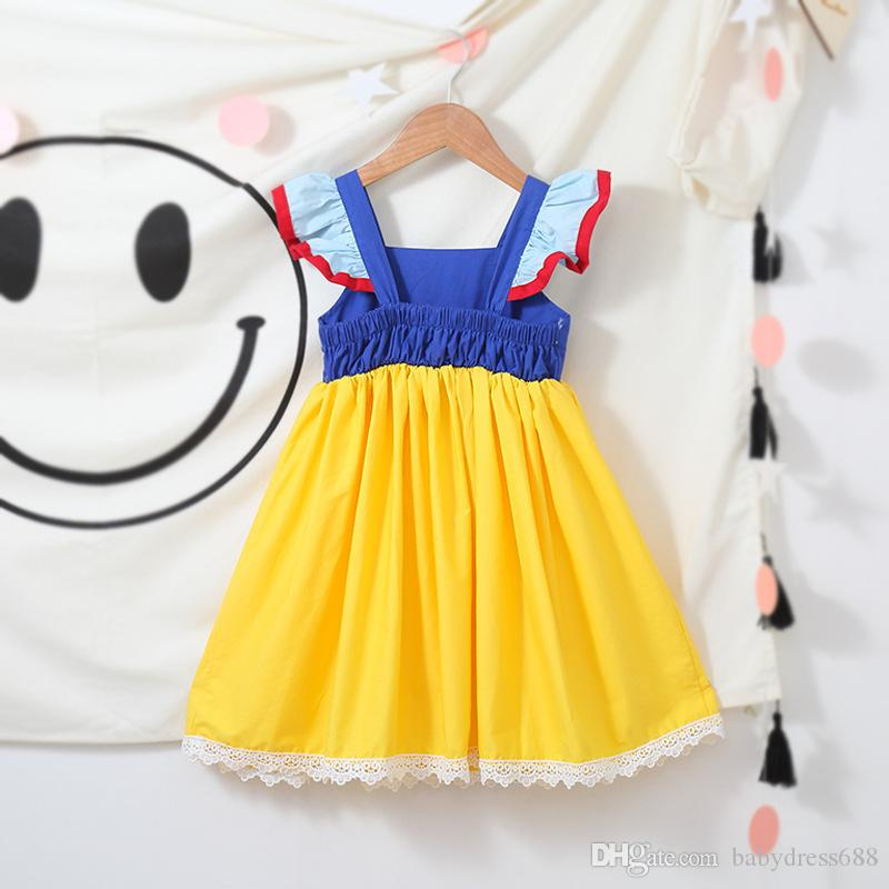 939fb7586db07 Kids Clothing Yellow Ins princess dress 2018 girls children skirt short  sleeve princess dress Halloween dress wholesale