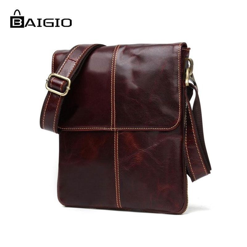 6a1b00e172 Baigio Men S Leather Vintage Shoulder Bag Crossbody Bags Men Messenger  Designer Bag Retro Style Brown Small Casual Briefcase Over The Shoulder Bags  Ivanka ...