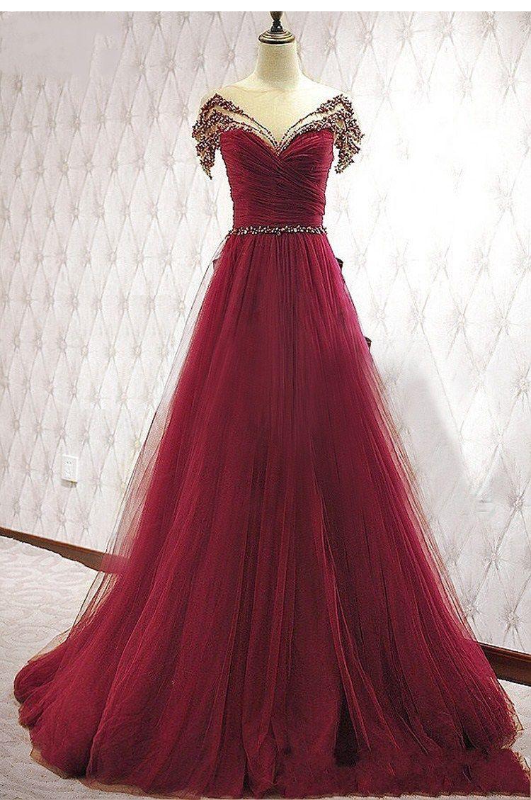 Jane Vini Shiny Crystal Long Dress Elegant Evening Dresses Wear Cap Sleeve Sexy Illusion Back Beaded Burgundy Tulle Luxury Party Prom Dress