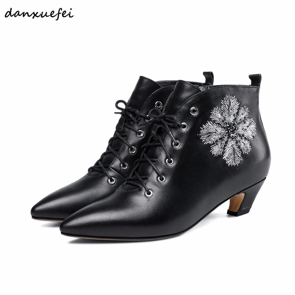 1485fa5dd Women's kitten heel ankle boots Embroidered flowers autumn boots pointed  toe low heel comfortable lace-up martin booties shoes