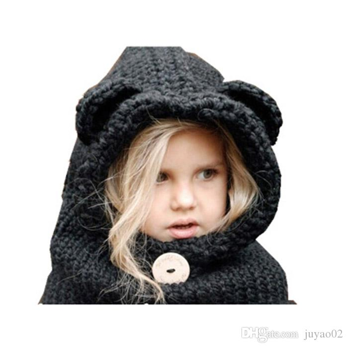 Winter Warm Girl s Hat Woolen Hat Fox Children Caps Protect Ears Baby Hats  Scarf Neck Wrap Set High Quality