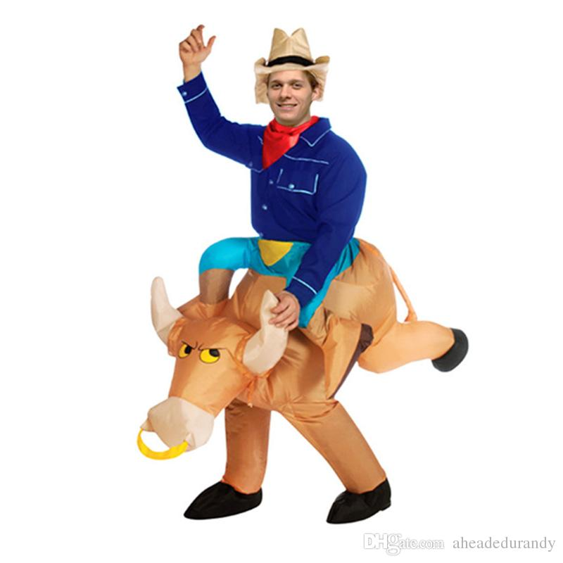 30fe632d5e3cc Inflatable Halloween Costume For Adult Kids Unisex Brown Inflatable Costume  Cowboy Bull Fancy Dress Costumes For Women Mascots Fun Group Halloween  Costumes ...