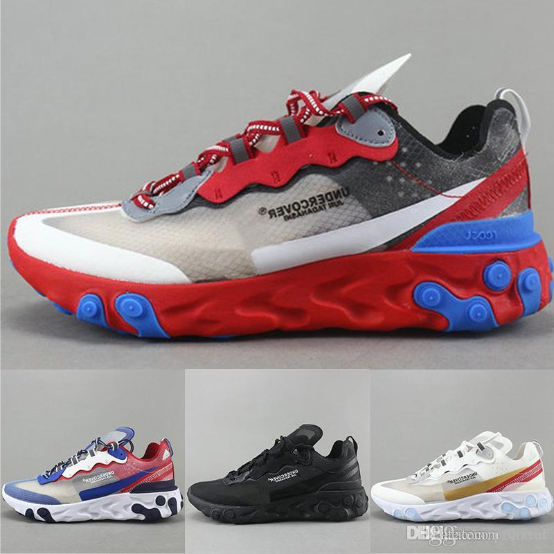 f73b168c9dea9 Mens Designer Epic React Element 87 Undercover Running Shoes Black White  Gold Breathable Mesh Men Women Casual Sports Sneakers Size 5.5 11 Men  Running Shoes ...