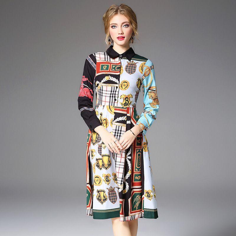 efbad1255c8 Women Casual A Line Dress Vintage Long Sleeve Contrast Color Irregular  Print Dress Slim Elegant OL Shirt Dresses Corset Dresses Dresss From  Sinofashion