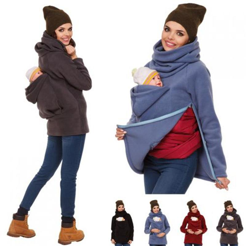 Maternity Kangaroo Pet Hoodie Pouch Winter Pregnant Coats Sweater Vest Baby Carrier Jacket Kangaroo Maternity Outerwear Coat