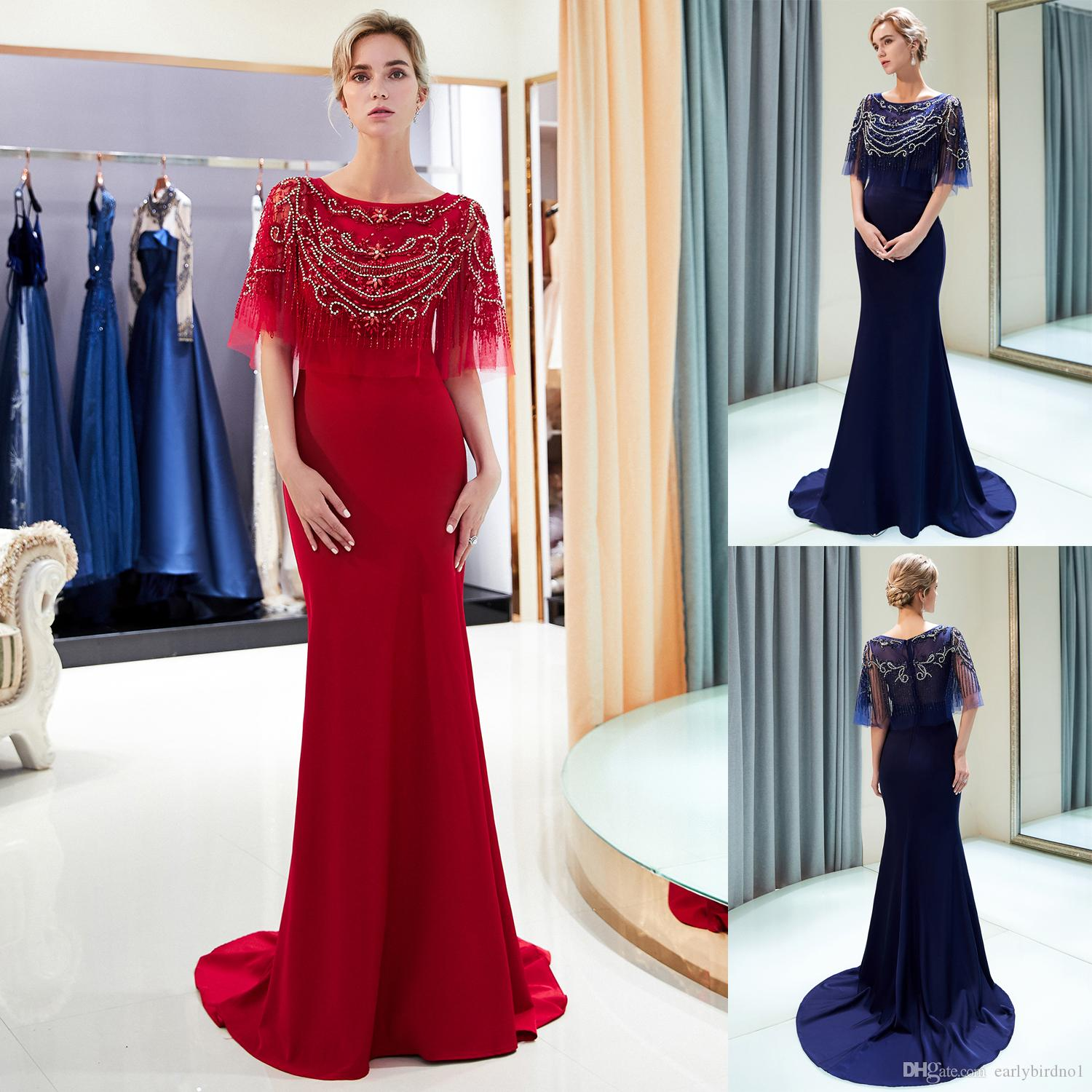 cba06f77f Luxury Beaded Mermaid Evening Dresses With Wrap Sweep Train Designer Formal  Occasion Dress Long Prom Gown Wedding Guest Dress CPS1159 Cheap Dresses  Cheap ...