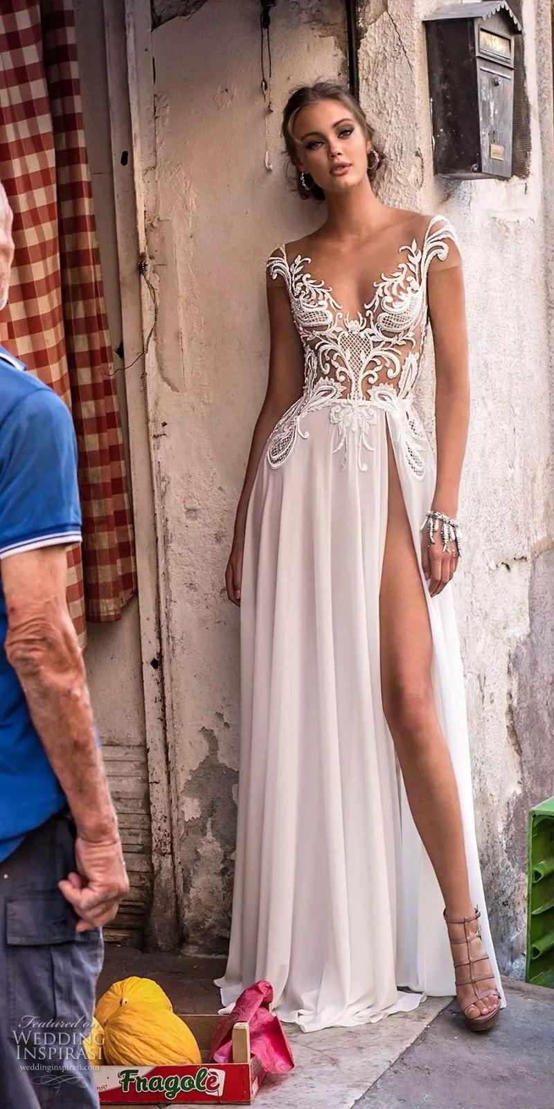 Berta 2018 Summer Beach Chiffon Wedding Dresses See Through Sexy Backless Cap Sleeves Split High Boho Bridal Gowns with Appliques