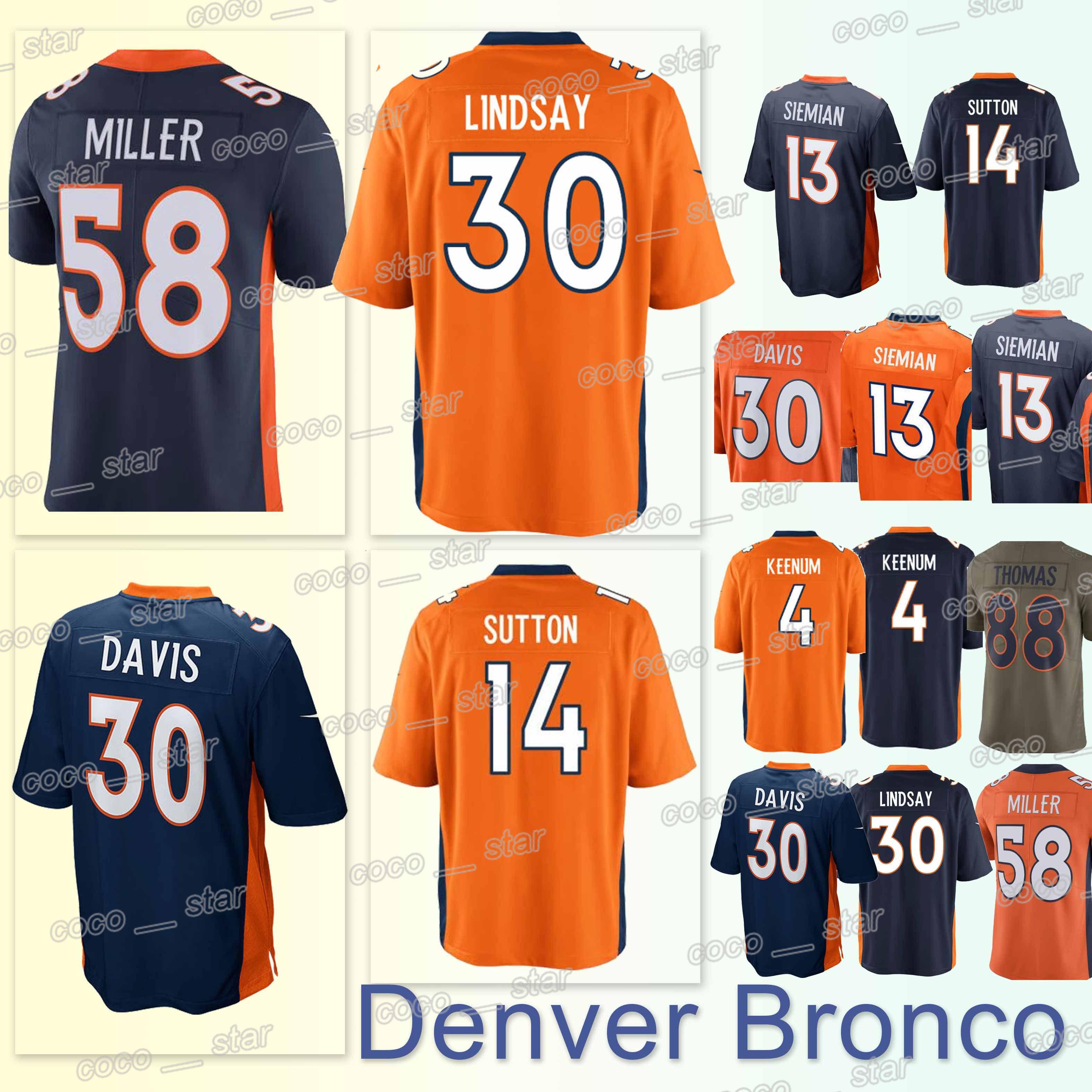 7a53278685ae1 Compre Camisetas De Los Denver Bronco 58 Von Miller 30 Terrell Davis 14  Courtland Sutton 4 Case Keenum 13 Camiseta Trevor Siemian A  23.26 Del  Coco star ...
