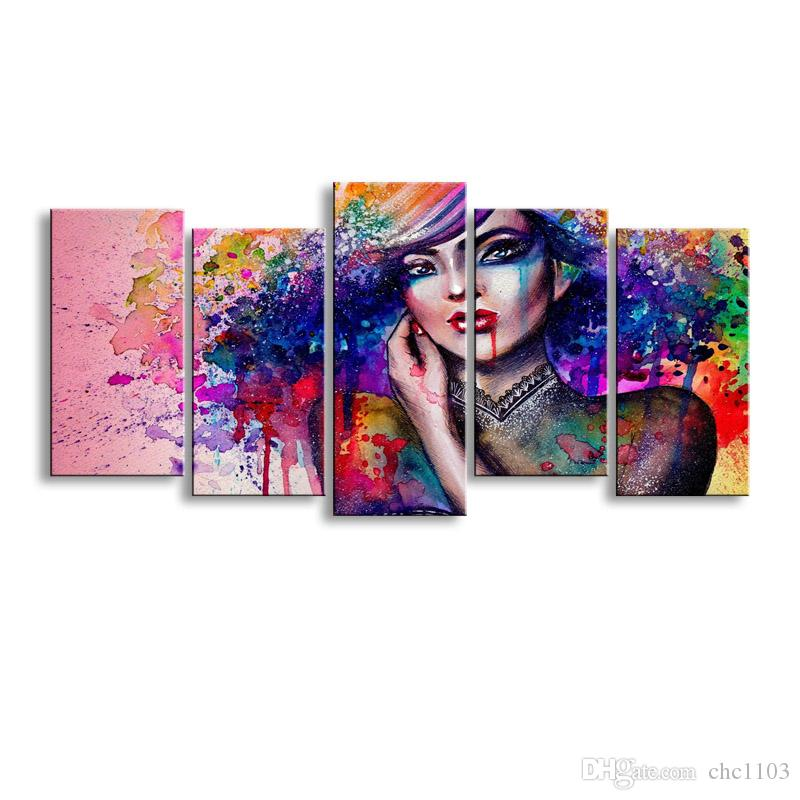 5 pieces high-definition print artwork Colorful womens canvas oil painting poster and wall art living room picture SCM-001
