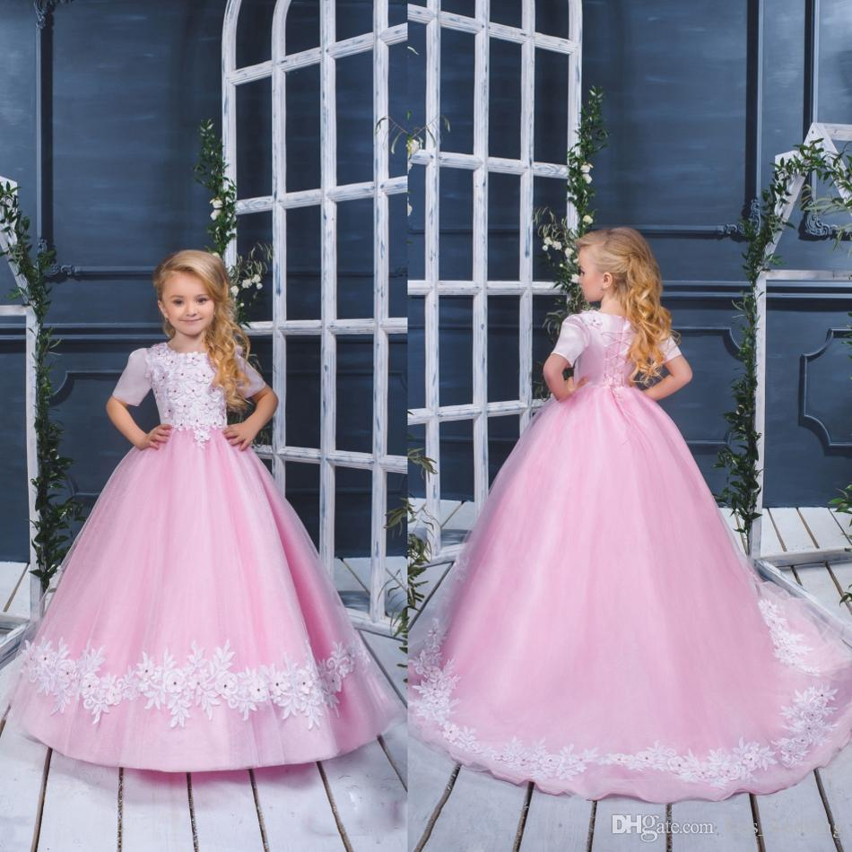 Beautiful Light Pink Long Girls Pageant Dresses For Teens Lace Up ...
