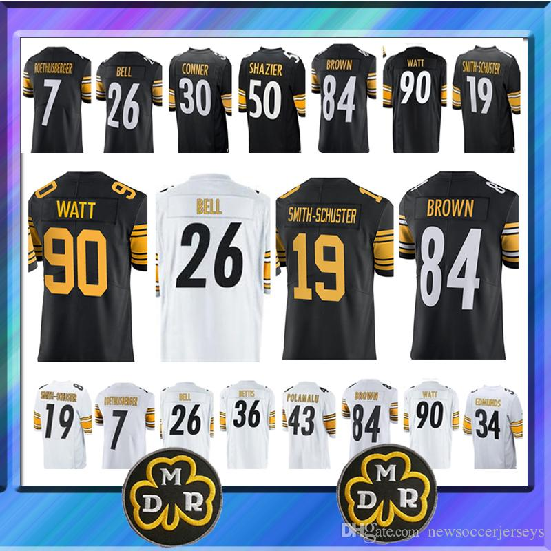 b11efa088 84 Antonio Brown Pittsburgh Jersey 19 Juju Smith Schuster Steeler 30 James  Conner 7 Ben Roethlisberger 36 Jerome Bettis 26 Le Veon Bell Canada 2019  From ...