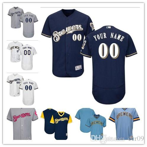 sports shoes 85e89 070db custom Men s Women Youth Milwaukee Brewers Jersey #00 Any Your name and  your number Home White Blue Baseball Jerseys