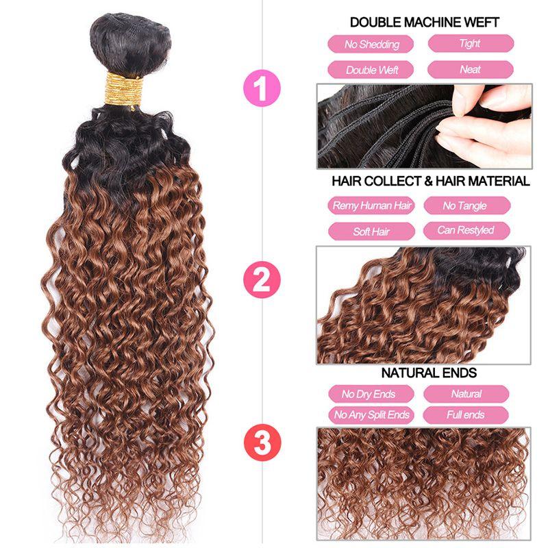 4 Pz Capelli Ombre Tessuto Bundles Ricci Crespi Capelli Vergini Brasiliani T 1B 30 Two Tone Colore Ombre Medio Auburn Hair Extension