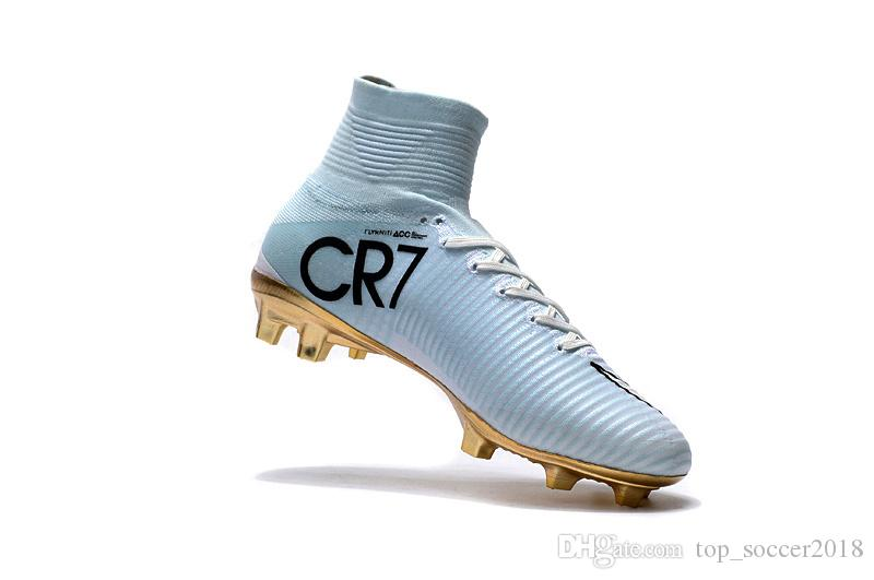 d00b34cde8f 2019 2018 White Gold CR7 Soccer Cleats Mercurial Superfly FG V SX Neymar  Kids Soccer Shoes High Ankle Cristiano Ronaldo Womens Football Boots From  ...