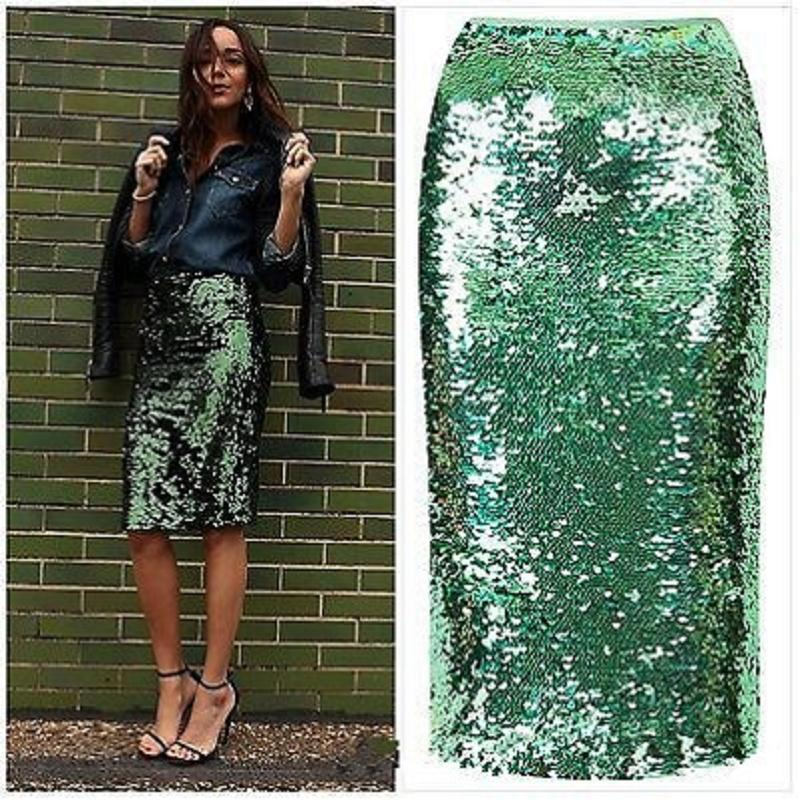 5b5dabf69 Las mujeres de calidad superior de lentejuelas verdes con cremallera Midi  falda paquete Hip Slim lápiz falda Femininas elegante Ladies Party Wear ...