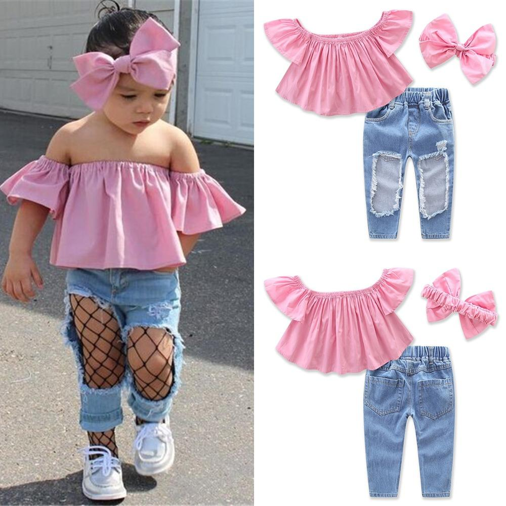 2019 Puseky 2017 New Fashion Toddler Kids Girl Clothes Summer Off ... 1b92ac896