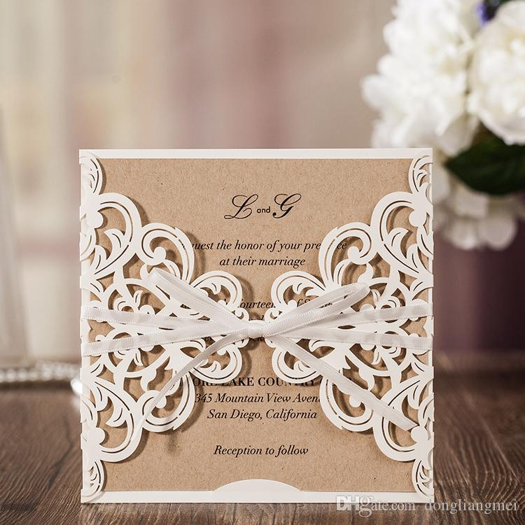 Elegant Printing Laser Cutting Wedding Invitation Favors Hollow For