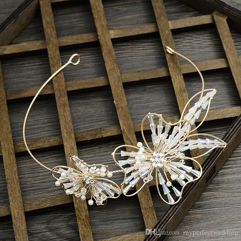 Nuevo estilo Princesa Garland y pendientes delicados adornos de oro hechos a mano conjunto de joyería nupcial chica noche de fiesta de baile accesorio para el cabello