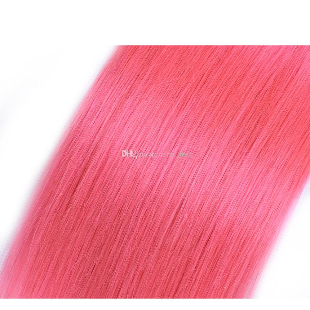 Pre-Colored Pink Human Hair Rose Pink Straight Remy Human Hair Extension 10-30 inch Brazilian Pink Virgin Hair Bundles Double Weft Fast Ship