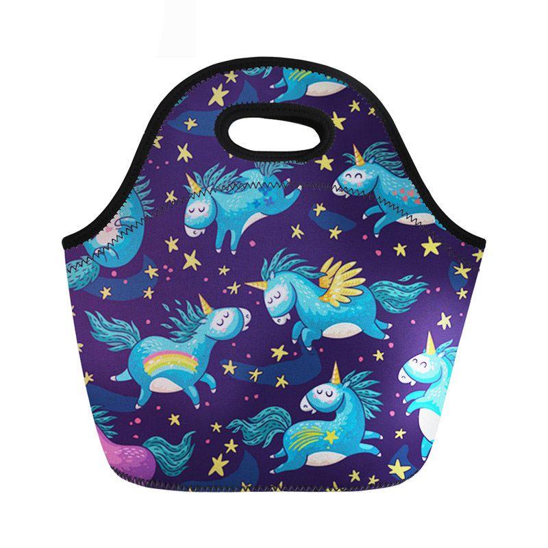 cce2474e54ea Unicorn Print Neoprene Lunch Bag For Kids Girls Women Cute Picnic ...