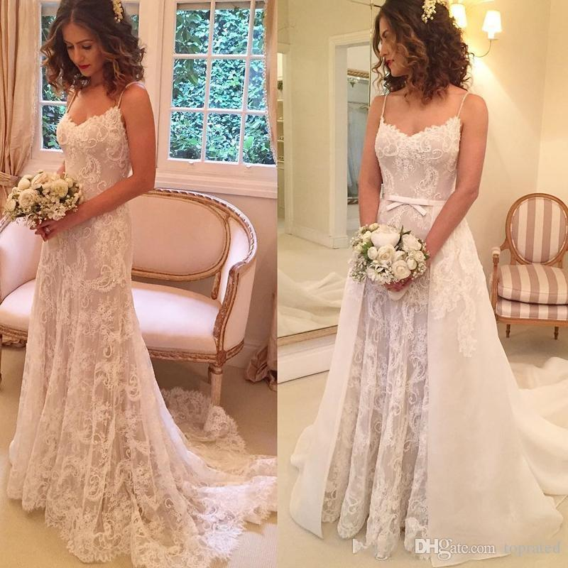 Wedding Dresses With Detachable Tail: Discount 2019 A Line Simple Spaghetti Lace Wedding Dresses