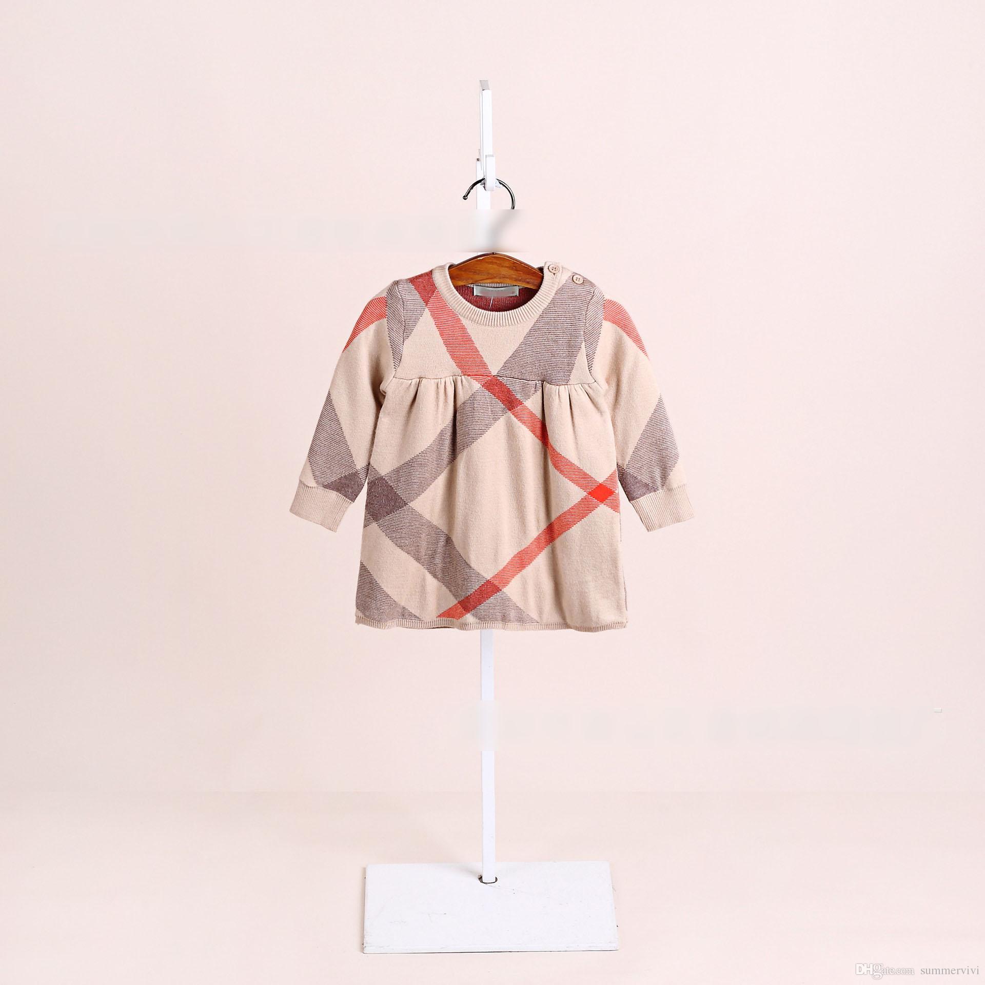 cf9899fb3 Toddler Kids Plaid Sweater Dress Fashion Baby Girls Round Collar ...