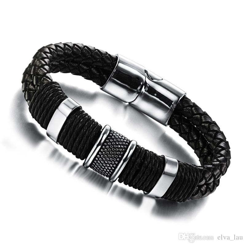 9f8723ac111f8 Fashion Black Leather Bracelet For Men Wide Mens Weave Chain Wristband  Stainless Steel Classic Bracelets Bangle Jewelry Charm For Charm Bracelet  Link Charm ...